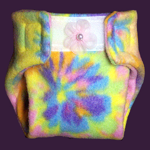 "Tie Dye Fleece Diaper Fits dolls with an 8 ½"" to 13"" waist and most dolls  12"" - 18"" tall."
