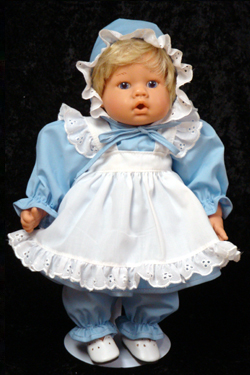 "Blue Eyelet Dress Set includes Dress, Pinafore and Pantaloons. fits 12"" - 14"" dolls such as the Lee Middleton Newborn Wonder Doll"