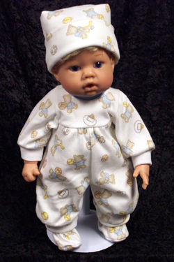 "Boys Teddy Bear Sports PJs fits 12"" - 14"" dolls such as the Lee Middleton Newborn Wonder Doll"