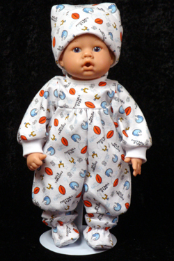 "Football Star Pajamas fits 12"" - 14"" dolls such as the Lee Middleton Newborn Wonder Doll"