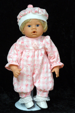 "Pink Daisy Check Jumper fits 12"" - 14"" dolls such as the Lee Middleton Newborn Wonder Doll"
