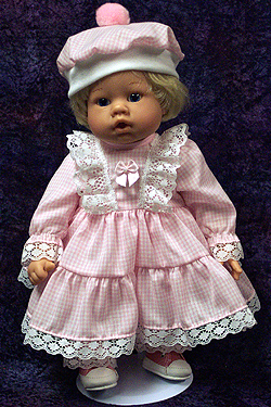 "Pink Gingham Dress fits 12"" - 14"" dolls such as the Lee Middleton Newborn Wonder Doll"