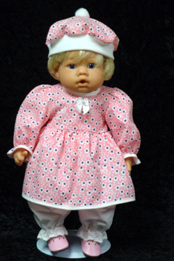 "Pink And Purple Dot Dress fits 12"" - 14"" dolls such as the Lee Middleton Newborn Wonder Doll"
