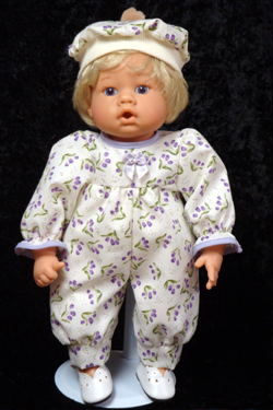 "Purple Tulips Jumper fits 12"" - 14"" dolls such as the Lee Middleton Newborn Wonder Doll"