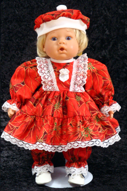 "Red Poinsettia Dress fits 12"" - 14"" dolls such as the Lee Middleton Newborn Wonder Doll"