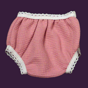 "Mauve Panties for dolls with 6"" to 10"" waist."